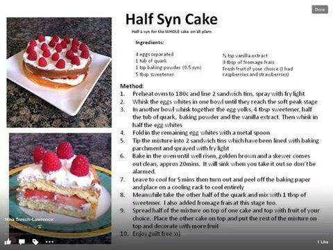 Half Syn Cake Slimming World Pinterest Half Syn Cake
