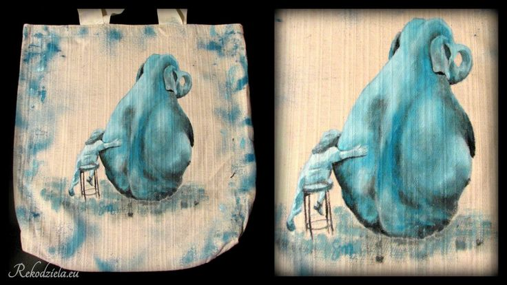 """""""Turkusowy Słoń"""" """"Cyan Elephant"""" Namalowałam tę torbę na aukcję charytatywną dla łódzkiej Fundacji Słonie na balkonie, zajmującej się pracą z dziećmi z problemami psychicznymi. Liczę, że stawka będzie podbijana do zawrotnej wysokości :D"""