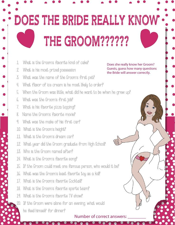 "Printable Wedding Shower Game ""How Well Does the Bride Know the Groom?"""