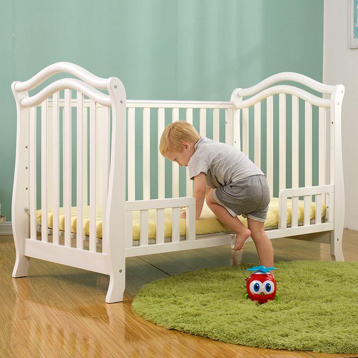 Americano Cuna con Rodillo Sofá Cama de Madera Maciza Cama de Bebé Juego de Cama Infantil Pintura Verde Blanco