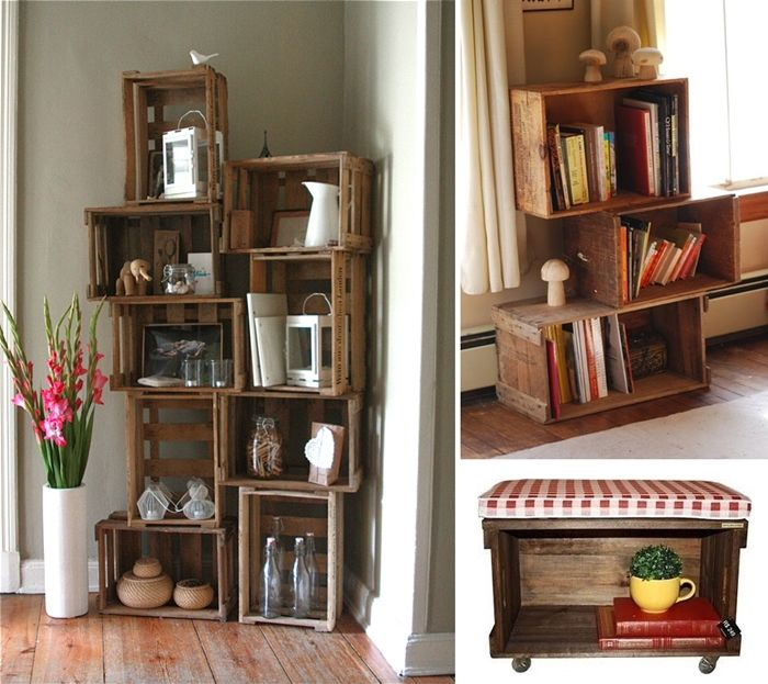 10 Ingenious Ideas to Organize with Old Wooden Crates - http://www.amazinginteriordesign.com/10-ingenious-ideas-organize-old-wooden-crates/