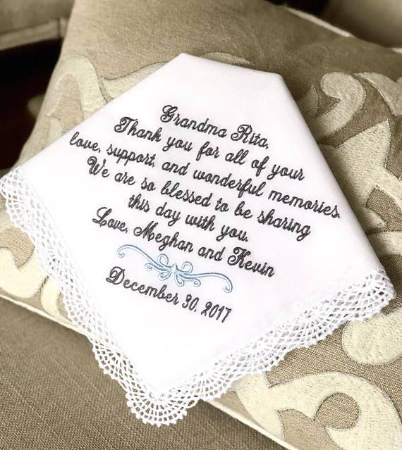 Wedding Handkerchief-Embroidery-Customized Grandma Gift Grandmother Wedding Gift Wedding gift for Grandma 5 2020 Hankies from Bride