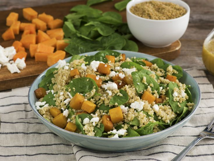 BUTTERNUT SQUASH AND FREEKEH SALAD WITH MAPLE SHALLOT VINAIGRETTE