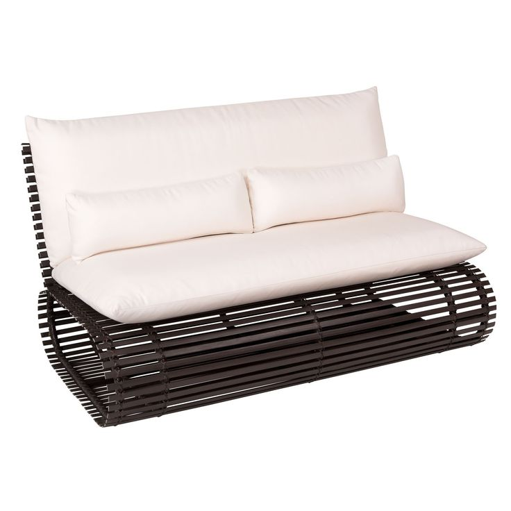 This contemporary outdoor love seat features thick, all-weather HDPE wicker slats hand woven to a tubular aluminum frame. The modern outdoor love seat includes Acrylic Sunbrella® seat, back and lumbar cushions that are fade- and mildew-resistant for years of comfort and feature removable covers for easy cleaning. The Novel outdoor love seat by Stori Modern measures 33.25 in. (h) x 60.2 in. (w) x 36.25 in. (d) and available colors include coffee, beige and white. Fabric samples are available.