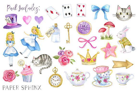 Alice In Wonderland Clipart Watercolor Alice In Wonderland
