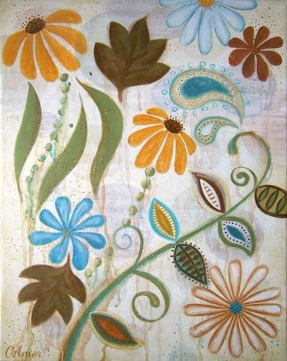 Canvas Painting Ideas for Beginners - or ideas for elements in a crewelwork piece