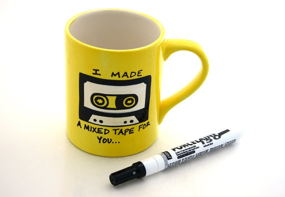 Make your own mixed cassette tape mug- what songs would you put on the back? #diy #lennymud #etsy