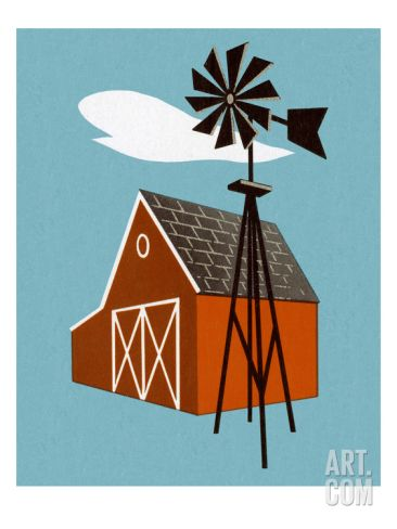 Barn and Windmill Art Print by Pop Ink - CSA Images at Art.com