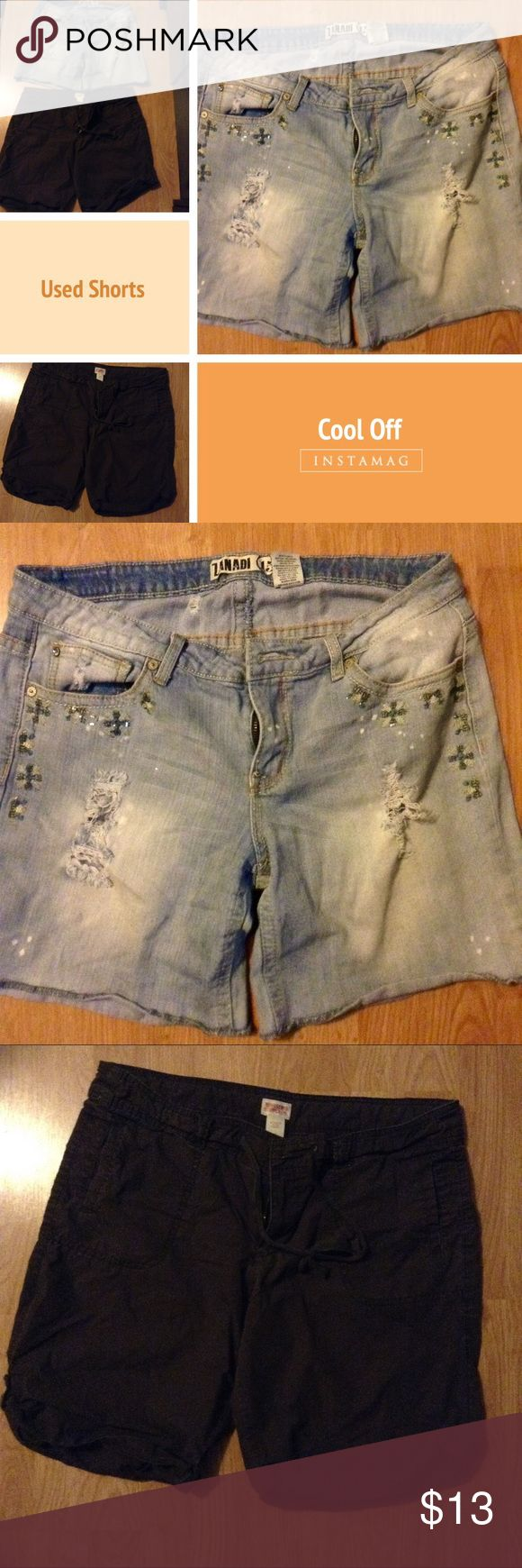 Shorts Women (Young Jr.) Size 15 Used Shorts One Pair Blue Jeans Shorts (sanding Brand) and the Other Is Dark Brown Shorts (Mossimo Supply Co.) both with normal wear Shorts Jean Shorts
