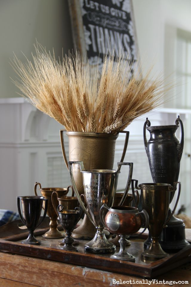 Vintage loving cup collection filled with wheat for fall eclecticallyvintage.com