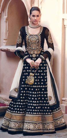 Black and Gold Flared Floor Length Anarkali Suit – Lashkaraa