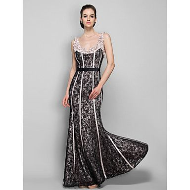 Sheath/Column Straps Floor-length Stretch Satin and Lace Evening Dress - USD $ 79.29