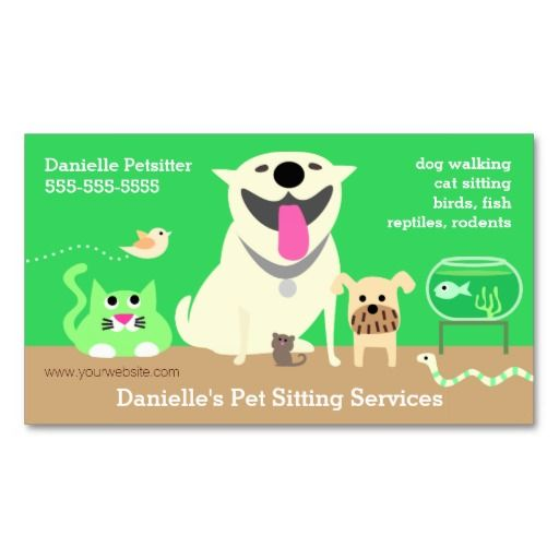 Pets - green dog cat bird fish snake bird business card ...