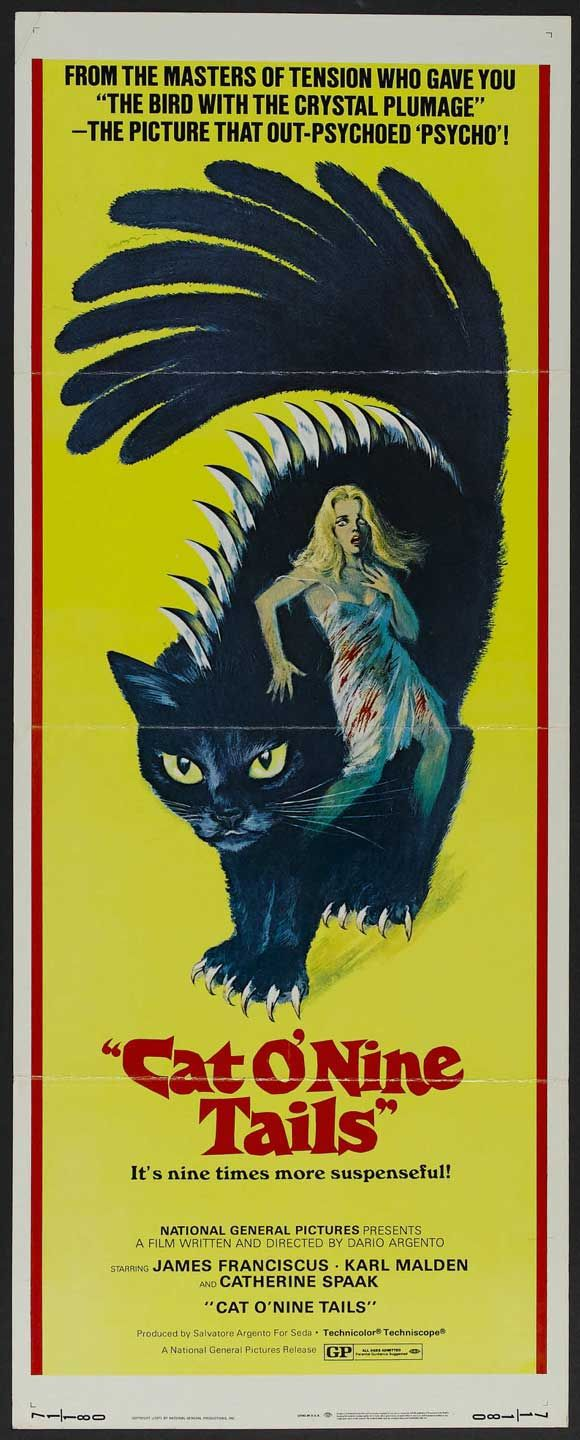 "Cats in Art and Illustration: Poster, ""Cat o' Nine Tails,"" (1971) - Dario Argento"
