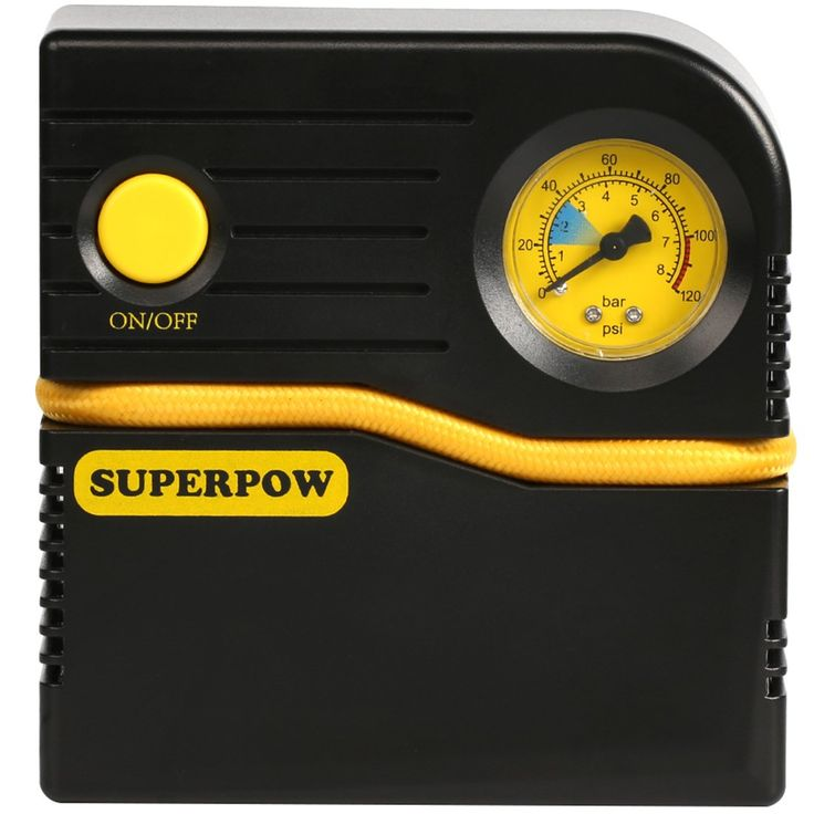 2018 Tire Inflator,Superpow Auto Air Compressor Pump 120PSI 12V DC 4 Mins Quickly Filled Tire Pump with Gas for Car Truck Bicycle and Other Inflatables