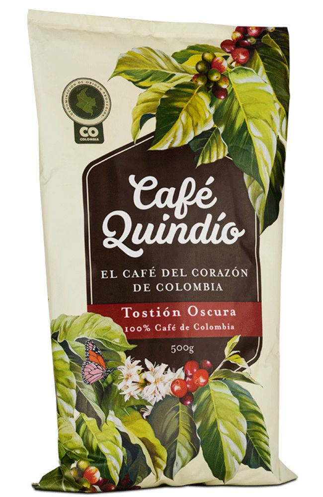 Cafe Quindío - Roasted Coffee  Available in 2,5 Kg, 500g, 250g, 125 g, 50g. Roasted Coffee beans 2,5Kg
