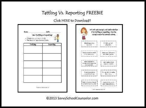 Tattling Vs. Reporting Freebie | Savvy School Counselor