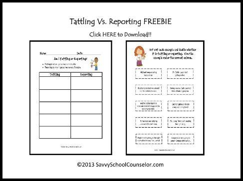 Tattling Vs. Reporting Freebie | Savvy School Counselor