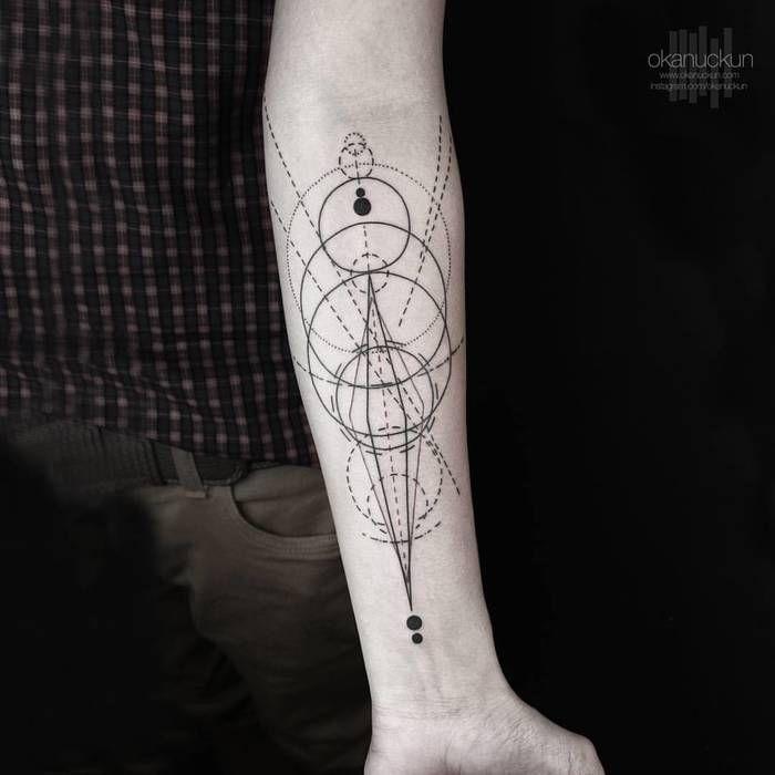 Gorgeous Geometric Tattoo on Forearm by Okan Uckun