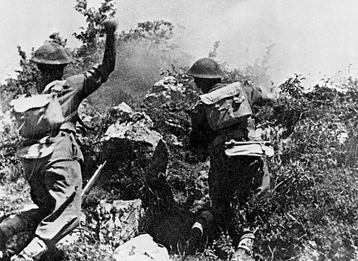 Troops of Polish 2nd Corps fighting near Monte Cassino Italy May 1944.