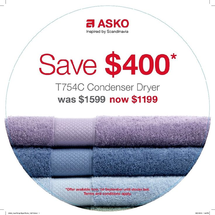 Run-Out CONDENSER DRYER Offer  Purchase our Floorstock Condenser Dryer and SAVE $400* Offer only available on purchases of our Floorstock ASKO condenser dryer model T754C