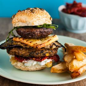 Vegetarian burgers with grilled brinjals, garlic mushrooms and parmesan