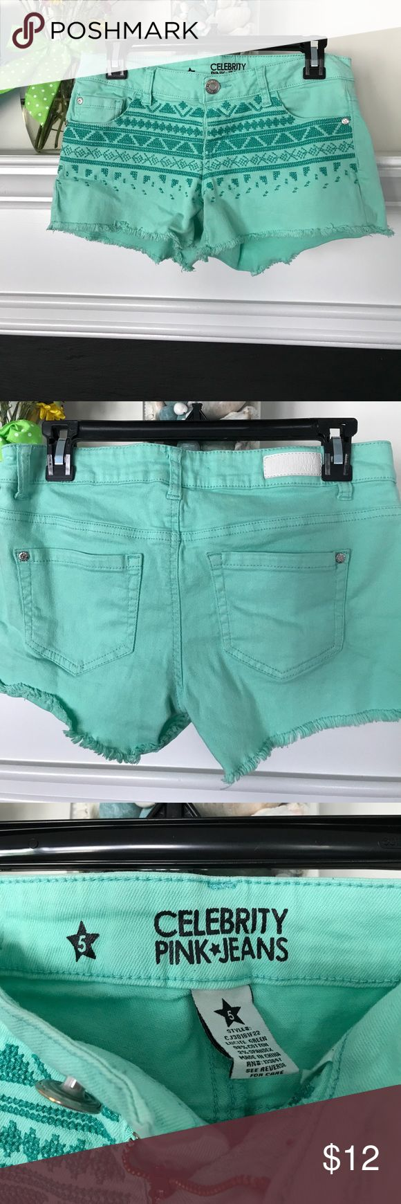 "🍒🍒NEW LISTING 🍒 Mint green shorts. Adorable for summer. Worn a couple of times. Waist :15 Inseam :3"" Celebrity Pink Shorts"