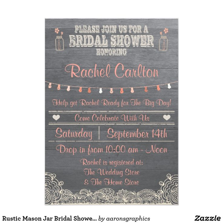 Rustic Mason Jar Bridal Shower Invitation Coral