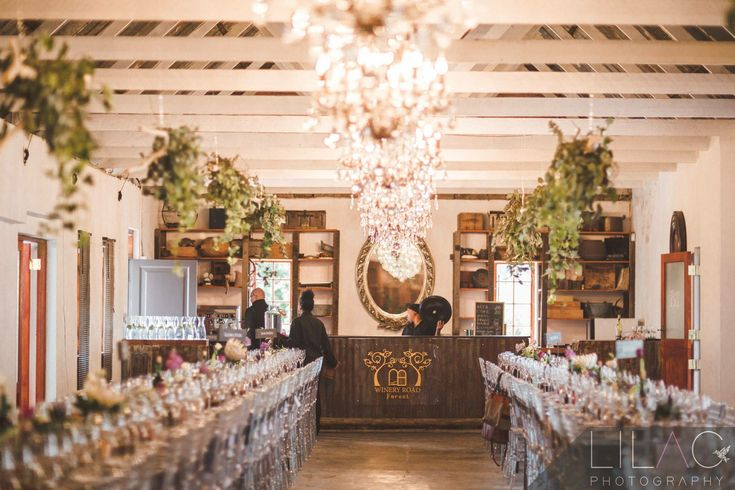 Forest Weddings   Rustic Barn with crystal chandeliers  Long tables Clear tiffany chairs Wedding venue in Cape Town close to Stellenbosch Sunset wedding photography Ido @ WineryRoadForest