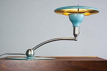 Mid Century Flying Saucer Lamp - MG Wheeler Sight Light -Aqua + Chrome