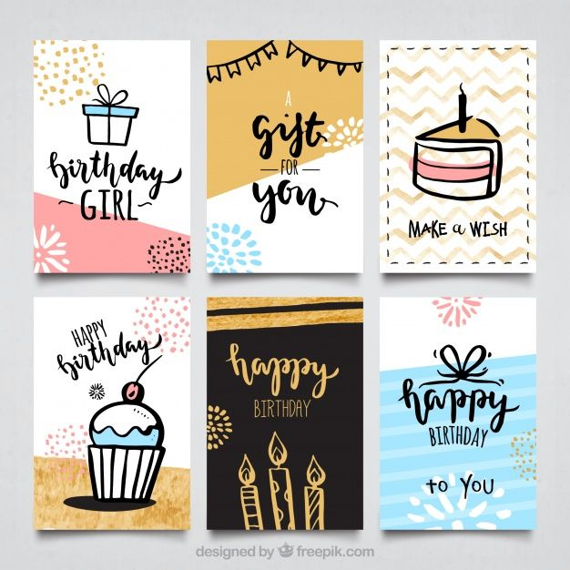 Water color birthday cards collectio Free Vector
