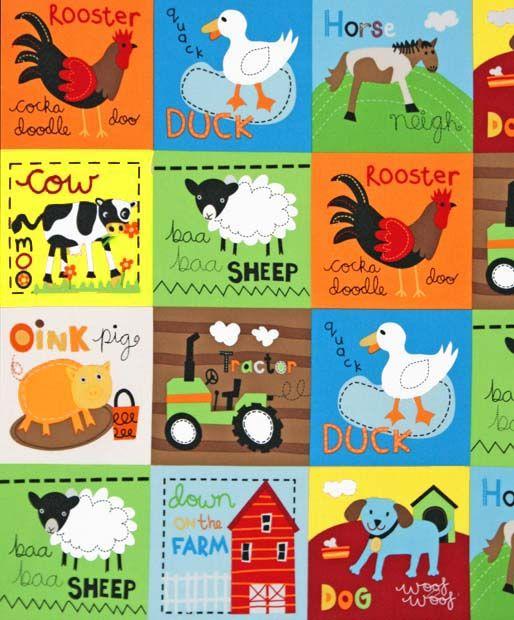 Farm fabric kids 195 bright design runs full width for Childrens animal fabric
