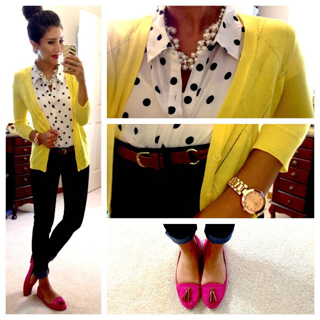 Pink Yellow Gold White Black Polka Dot Pearl Outfit