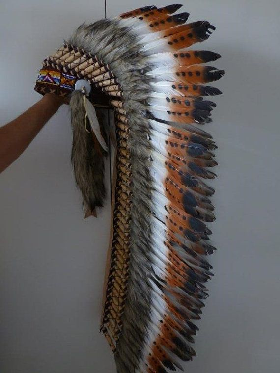 Extra Large Indian  Three color and Dark green  Feather Headdress (43 inch long )