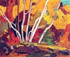Tom Thomson (1877-1917), Autumn Birches,c.1916, oil on panel