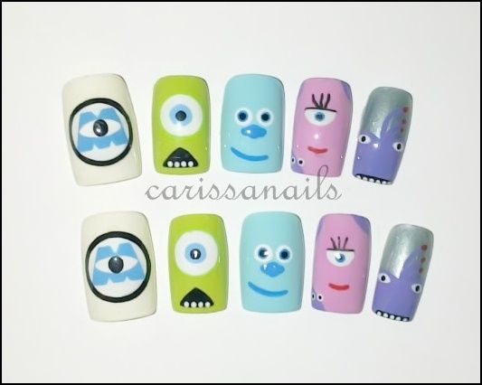 monsters inc. nail designs | Monster Inc Long Nails - Nail Art Gallery