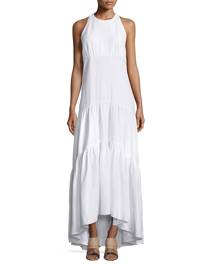 Talia Woven Racerback Maxi Dress, White - L'Agence