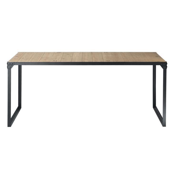 Table de salle à manger indus en bois et métal L 180 cm Docks 130 euros - Maisons du Monde