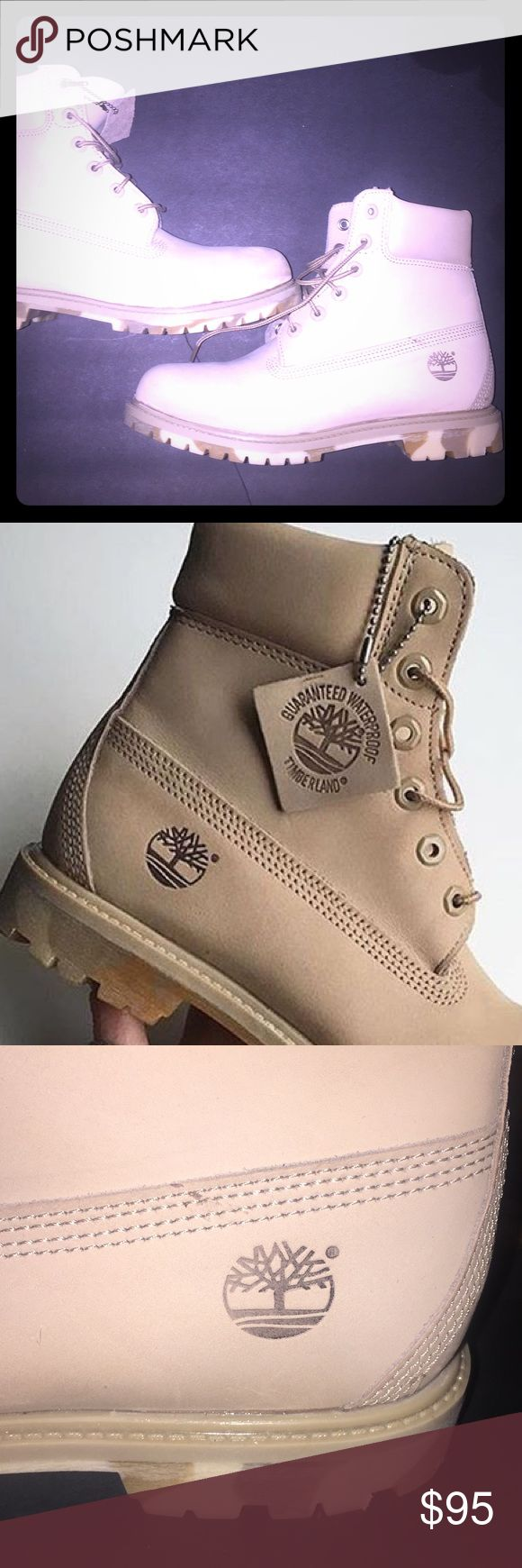 Women's timberlands very rare and different Gorgeous and Rare TIMBERLANDS these are so different they are a light tan/beige color with a very subtle camo heel.. these are brand spankin new never worn !!! For some reason  I threw away the box when I got them probably trying to hide them from my husband 😜 Timberland Shoes Ankle Boots & Booties