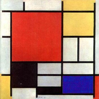 {w} De Stijl. Painting by Piet Mondrian. Primary colours+ {red, blue, yellow, white, black, grey}, line & plane.