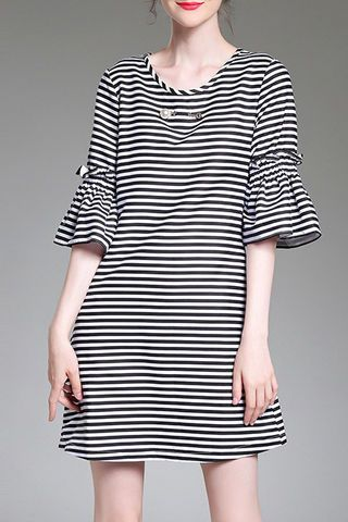 NEW IN! Black And White Flared Sleeves Striped Dress