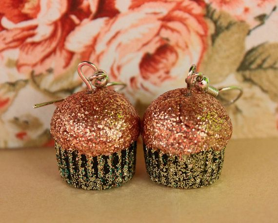 All that glitters is not gold peach and gold cupcake by TinkyPinky