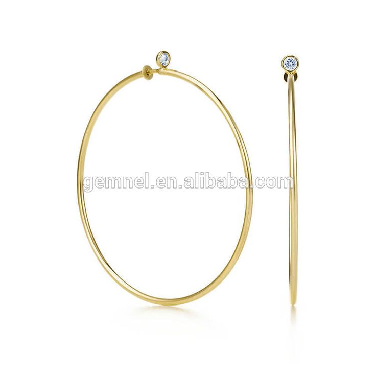 Gemnel new arrival 925 silver thin large cz hoop earrings for women