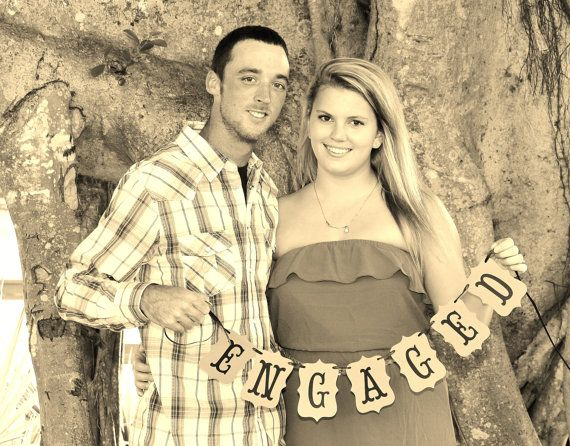 ENGAGED - engagement, photography prop, photo prop, wedding photos, you pick colors, small hand held banner on Etsy, $20.00