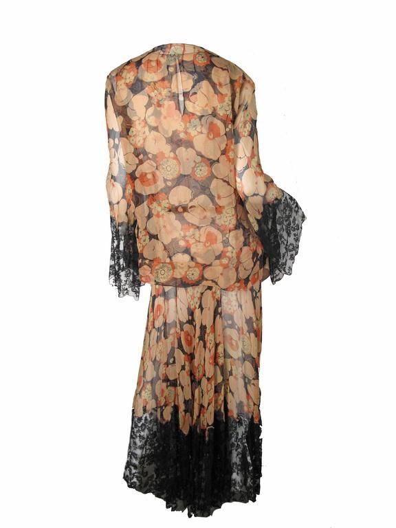 1920s - 30s Sheer Chiffon Floral Gown and Jacket with Lace 5