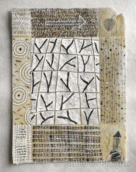 Notes From The Ancestors no.5, 2012, Patti Roberts-Pizzuto; pencil, ink, ruber stamping, collage, hand stitching, beeswax on handmade paper