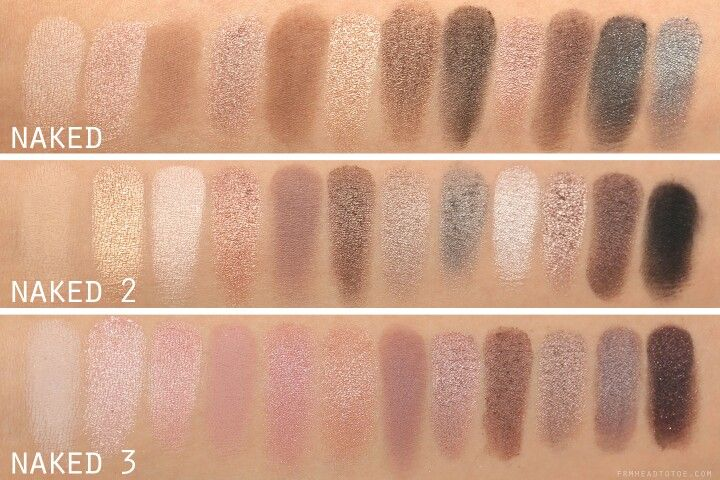 UD Naked, Naked 2 and Naked 3 colour