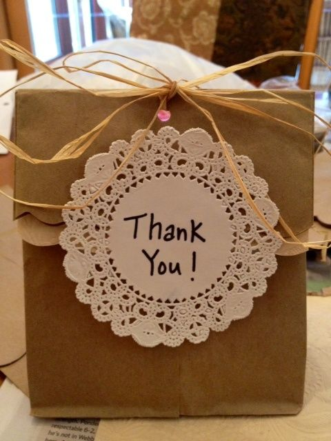 Wedding Shower Wrapping Ideas | Brown paper bag thank you bags for bridal shower