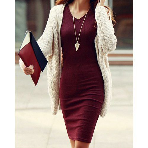 Burgundy bodycon midi dress w/ matching clutch, gold arrowhead pendant necklace, cream knit tunic, long dark hair, lightly tanned skin