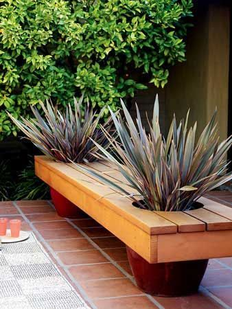 How to: Modern Planter Bench. Two in One. Adding additional seating and some greenery are two basic objectives for a stylish outdoor space. They used two large ceramic pots to act as legs, and built a wood top that rests right over them. We love the simple concept and could see lots of ways to customize it to any space.